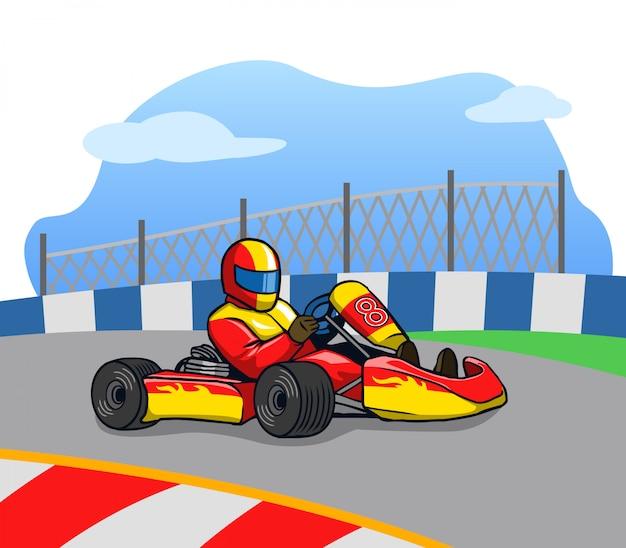 Gokart-racer loopt zo snel op de baan.