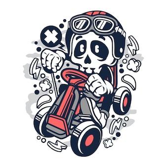 Gokart skull cartoon