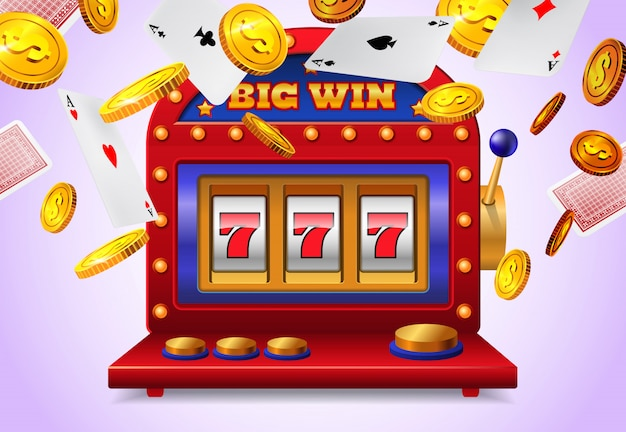 Gokautomaat met grote win belettering, vliegende speelkaarten en gouden munten
