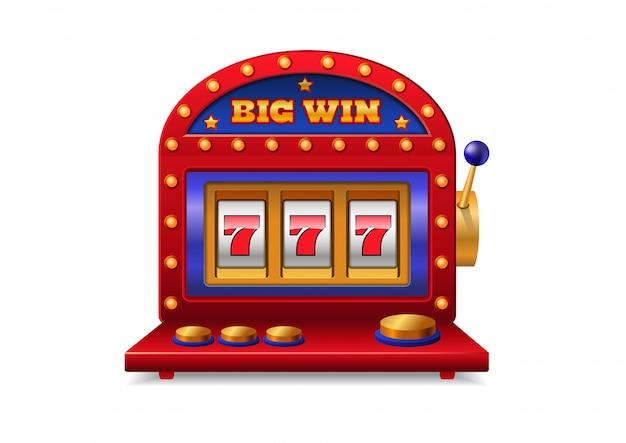 Gokautomaat met handvat. casino, verslaving, gokken. groot winstconcept.
