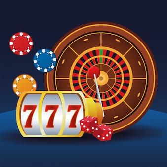 Gokautomaat roulette chips en dobbelstenen gokspel gokken casino