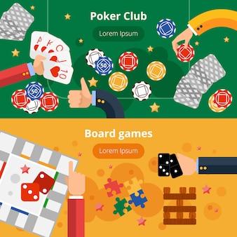 Gokken spellen platte banners instellen