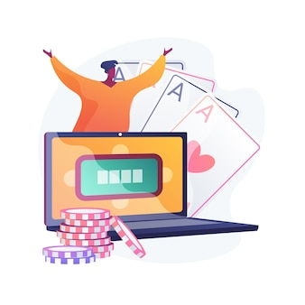 Gokker die online poker speelt, man heeft gewonnen in internetcasino. riskant kaartspel, digitaal gokken, virtueel toernooi. succesvolle speler met veel geluk.