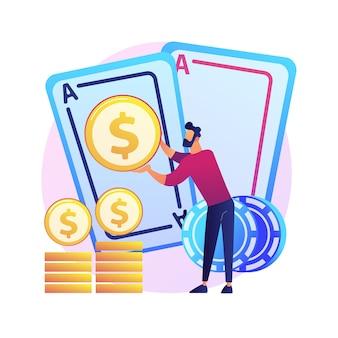 Gokwinsten, geluk en kans, jackpotprijs. casino, poker, kaartspel winnen. geldwinnaar, gokker, kaartspeler stripfiguur