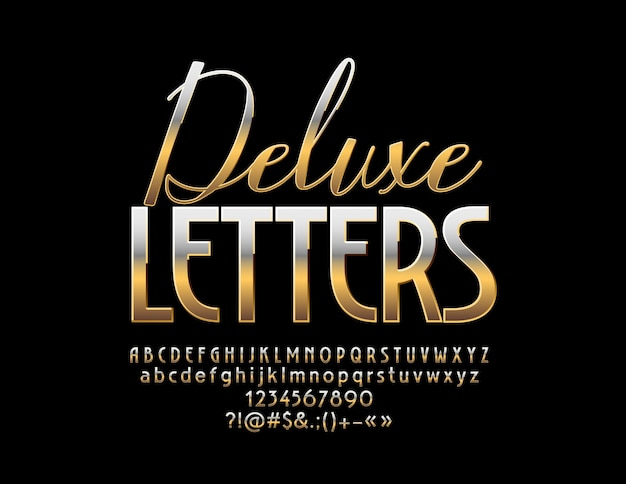 Gold deluxe font luxe set glamour letters, cijfers en symbolen