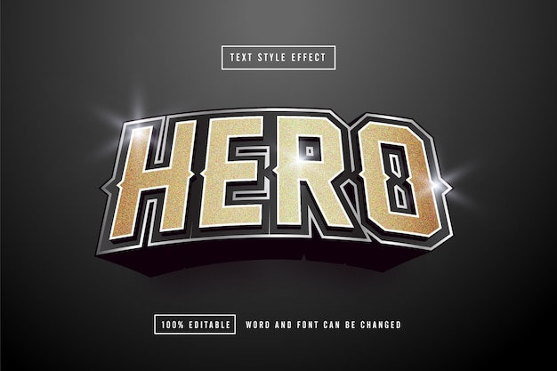 Gold hero teksteffect bewerkbaar