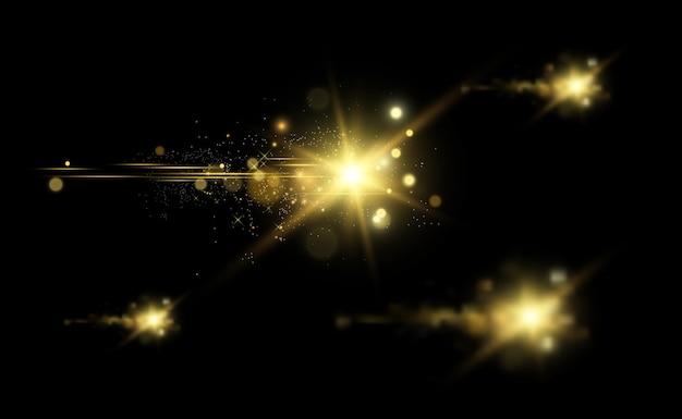 Gold sparkles, magisch, helder lichteffect op een transparante achtergrond.