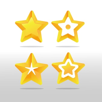 Gold star rating collectie set