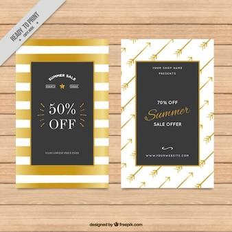 Golden aquarel strepen en pijlen verkoop flyers