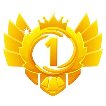 Golden award 1e plaats, kroon avatars voor game ui.