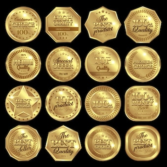 Golden awards badge set