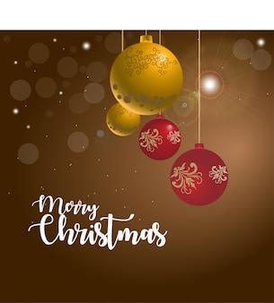 Golden christmas balls greetings vector