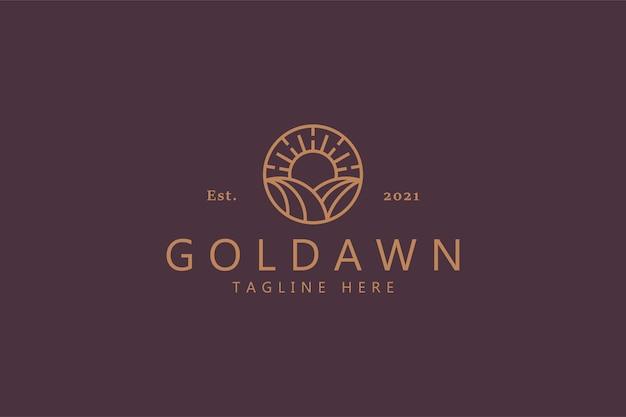 Golden dawn concept eco farm logo minimalistisch. ontwerpsjabloon logo van hoge kwaliteit.