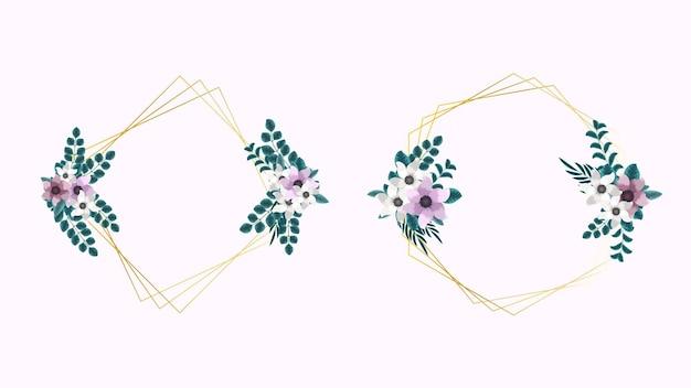 Golden floral frame met prachtige luxe bloemen laat wijnstokken in elegant design
