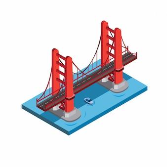 Golden gate bridge, san fransisco, miniatuur landmark gebouw. rode brug in zee met blauwe boot onder illustratie in isometrische vlakke stijl