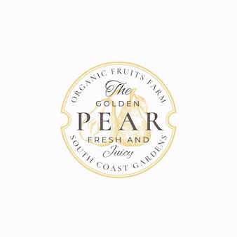 Golden pear farm badge of logo sjabloon.