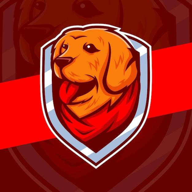 Golden retriever hond mascotte karakter logo ontwerp met badges en bandana