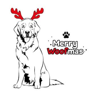 Golden retriever met rood rendiergewei kerstmis labrador hondportret vrolijke woofmas tekst
