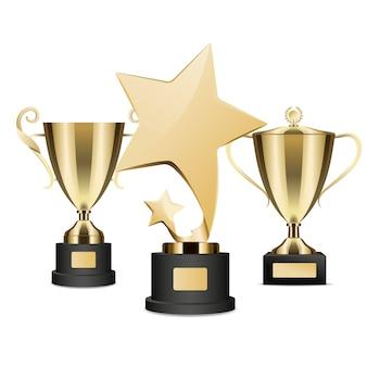 Golden rewards-verzameling van three on stands.
