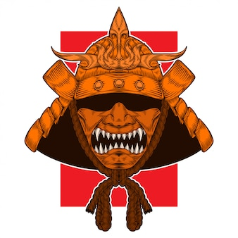 Golden samurai warrior warhelm