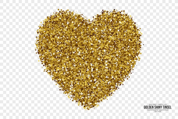 Golden shiny tinsel abstract vector heart
