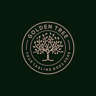 Golden tree oak banyan maple embleem logo ontwerp vector