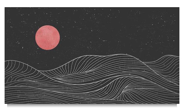 Golden wave lijntekeningen, abstracte hedendaagse esthetische achtergronden landschappen. gebruik voor printkunst, omslag, uitnodigingsachtergrond, stof. vector illustratie