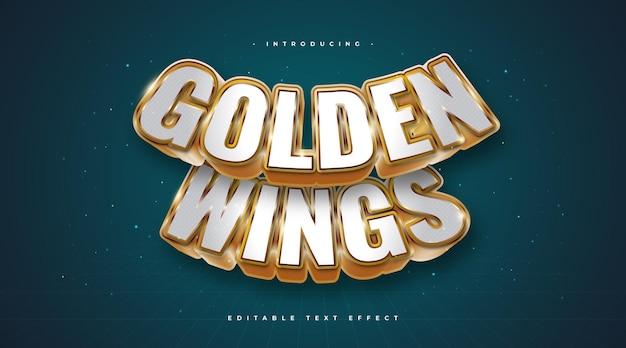 Golden wings-tekst in witte en gouden stijl met 3d en gebogen effect. bewerkbaar teksteffect