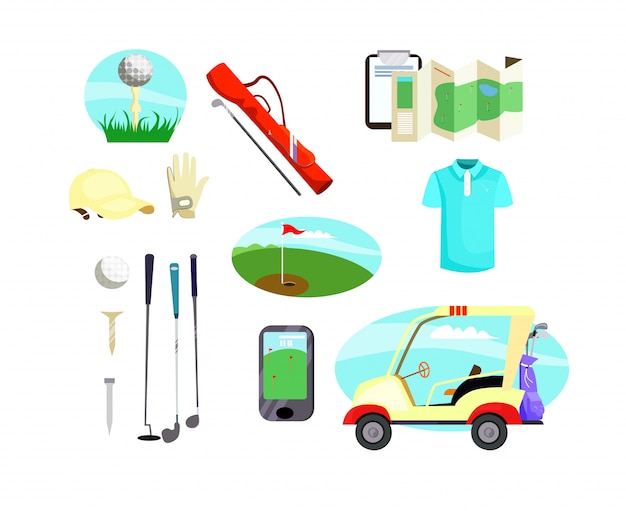 Golf apparatuur pictogrammen