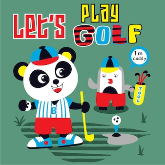 Golf beer panda vector cartoon