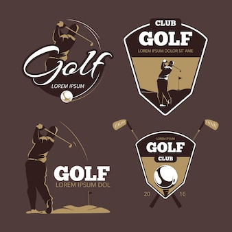 Golf country club vector logo sjablonen. sport met baletiket, pictogramspel illustratie