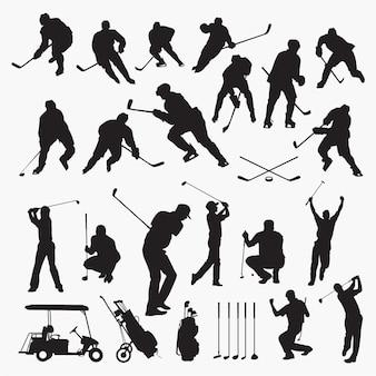 Golf hockey silhouetten