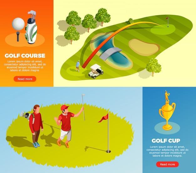 Golf isometrische horizontale banners