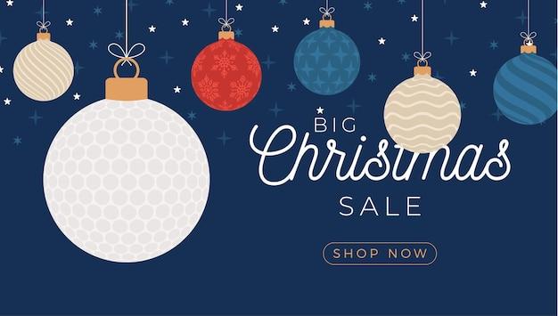 Golf kerst verkoop banner. prettige kerstdagen en gelukkig nieuwjaar platte cartoon sportbanner. golfbal als een kerstbal op de achtergrond. vector illustratie.