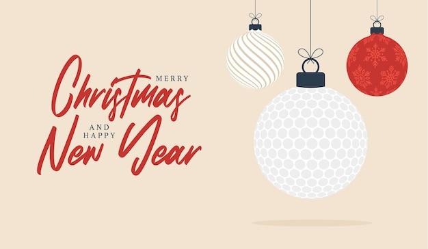 Golf kerst wenskaart. prettige kerstdagen en gelukkig nieuwjaar platte cartoon sportbanner. golfbal als een kerstbal op de achtergrond. vector illustratie.