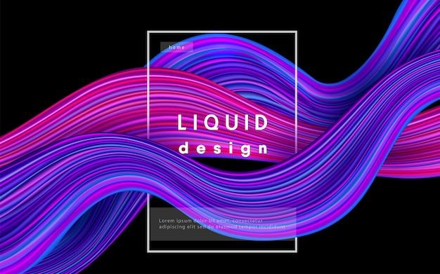 Golf kleur achtergrond. vloeibare stroom verf 3d ontwerp illustratie. geometrisch dynamisch golvend kleureninkt kunstconcept.