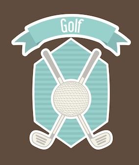Golf label met bal en over bruine achtergrond vectorillustratie