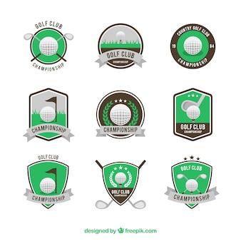 Golf labels collectie in vlakke stijl