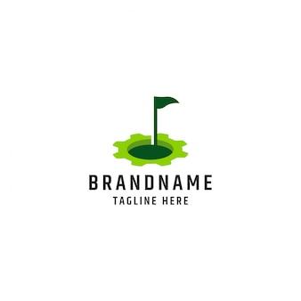 Golf met versnelling logo ontwerp sjabloon premium vector