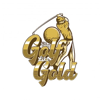 Golf spelen als gouden citaat poster illustratie man bal golf