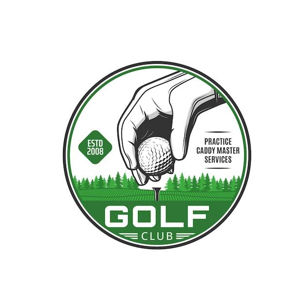 Golf sport icoon. golfclubdiensten, sportcompetitie vintage embleem of vectorbadge met speler hand in witte handschoenen, bal op tee zetten, baanlandschap spelen. retro pictogram van golftrainingscentrum
