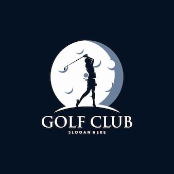 Golf sport silhouet logo ontwerpsjabloon