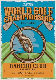 Golf thema vintage posterontwerp met illustratie van spelerhand, bal en twee golfclubs