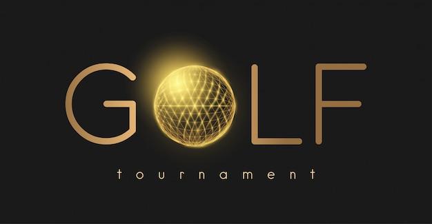 Golf tornament concept met gouden golfbal