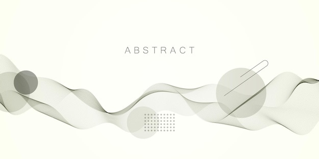 Golf van dynamische deeltjesstromen. mooie golfreeks van gemengde stippen. abstracte vectorachtergrond.