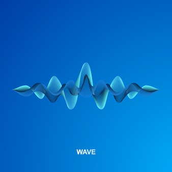 Golf van geluid geïsoleerd op blauw