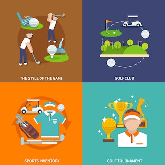 Golf vlakke elementen samenstelling set