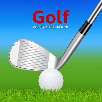 Golfachtergrond - 3d realistische golfclub en bal op gras.