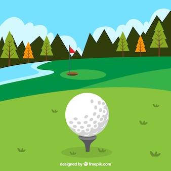 Golfbaanachtergrond in vlakke stijl