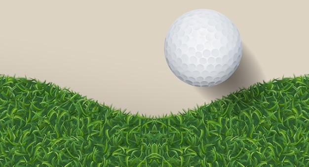 Golfbal en groen gras.